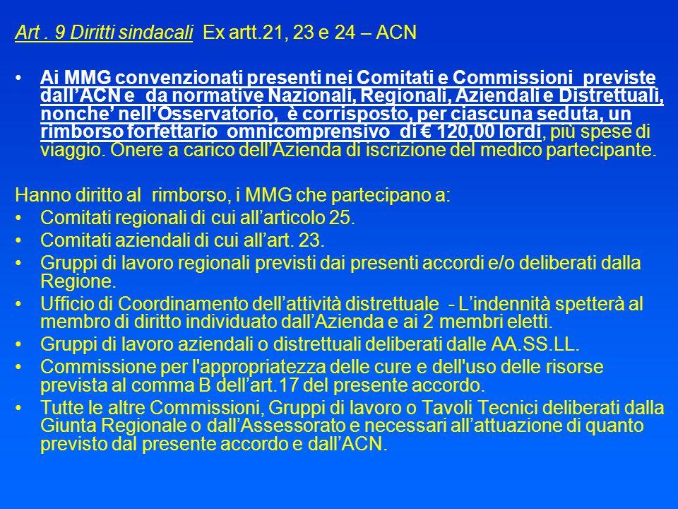 Art. 9 Diritti sindacali Ex artt.21, 23 e 24 – ACN Ai MMG convenzionati presenti nei Comitati e Commissioni previste dallACN e da normative Nazionali,