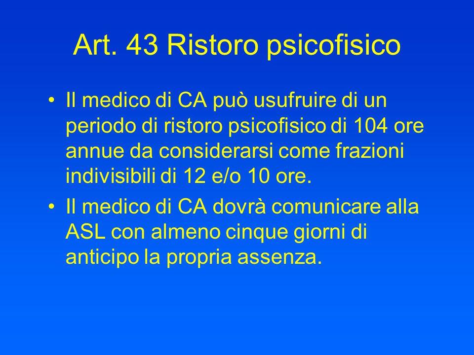 Art. 43 Ristoro psicofisico Il medico di CA può usufruire di un periodo di ristoro psicofisico di 104 ore annue da considerarsi come frazioni indivisi