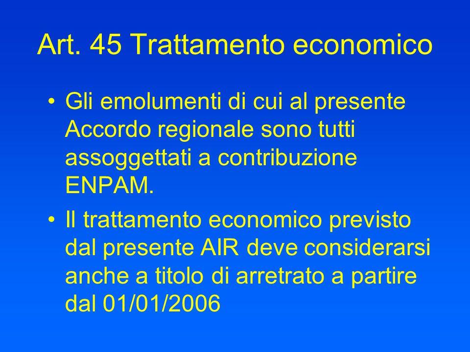 Art. 45 Trattamento economico Gli emolumenti di cui al presente Accordo regionale sono tutti assoggettati a contribuzione ENPAM. Il trattamento econom