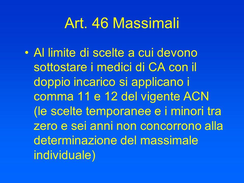 Art. 46 Massimali Al limite di scelte a cui devono sottostare i medici di CA con il doppio incarico si applicano i comma 11 e 12 del vigente ACN (le s