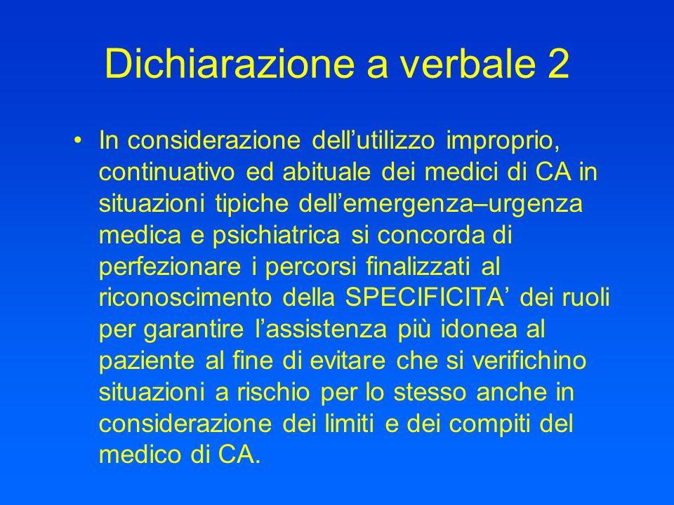 Dichiarazione a verbale 2 In considerazione dellutilizzo improprio, continuativo ed abituale dei medici di CA in situazioni tipiche dellemergenza–urge