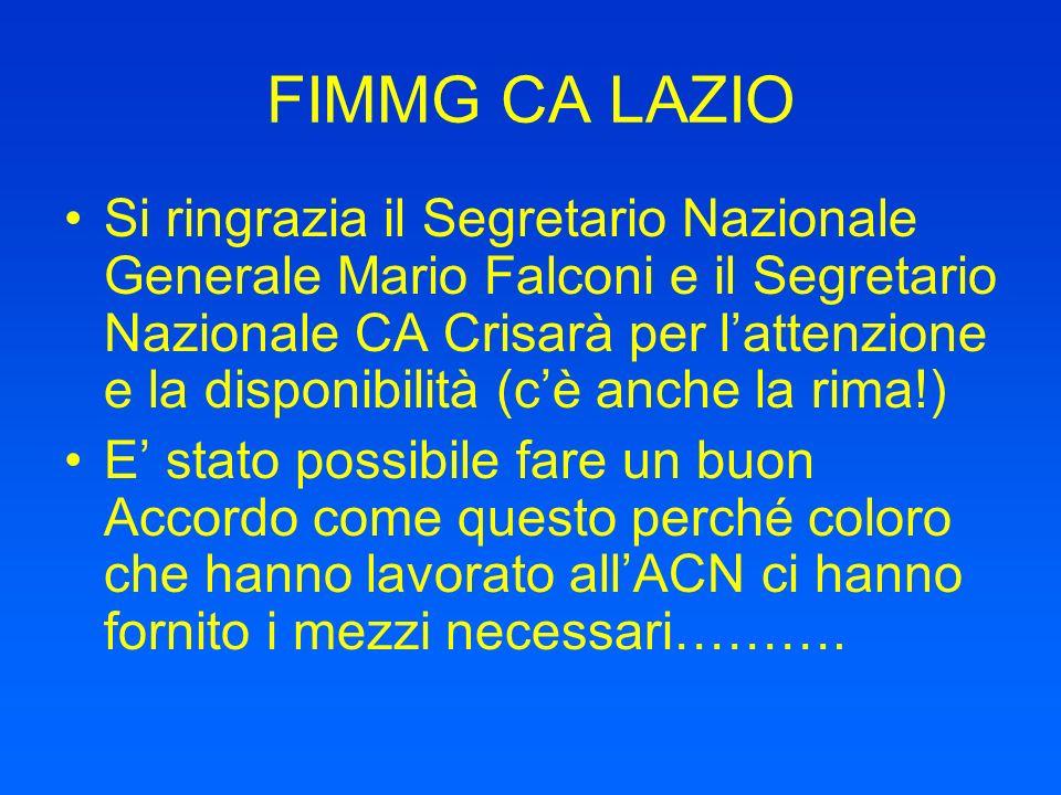 FIMMG CA LAZIO Si ringrazia il Segretario Nazionale Generale Mario Falconi e il Segretario Nazionale CA Crisarà per lattenzione e la disponibilità (cè