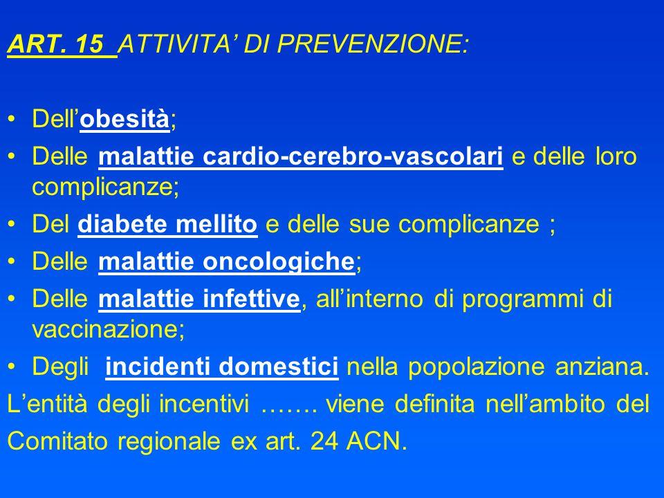 ART. 15 ATTIVITA DI PREVENZIONE: Dellobesità; Delle malattie cardio-cerebro-vascolari e delle loro complicanze; Del diabete mellito e delle sue compli
