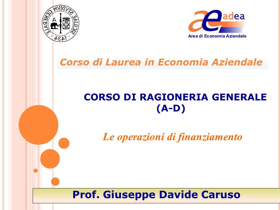 Le operazioni di finanziamento CORSO DI RAGIONERIA GENERALE (A-D) Prof. Giuseppe Davide Caruso Corso di Laurea in Economia Aziendale