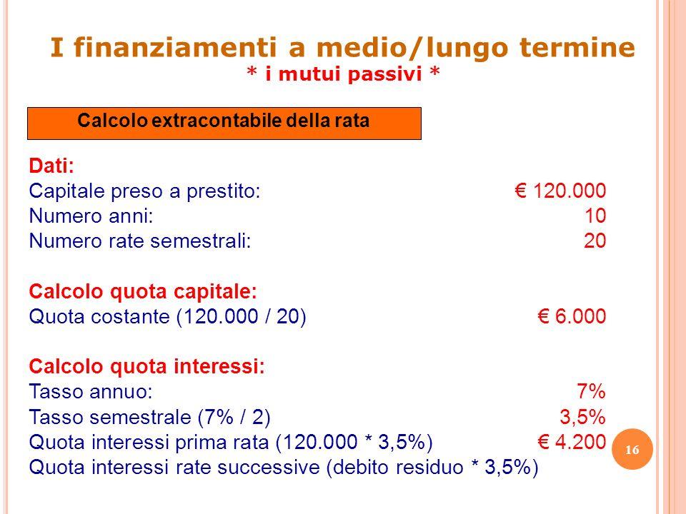 16 Dati: Capitale preso a prestito: 120.000 Numero anni:10 Numero rate semestrali:20 Calcolo quota capitale: Quota costante (120.000 / 20) 6.000 Calco