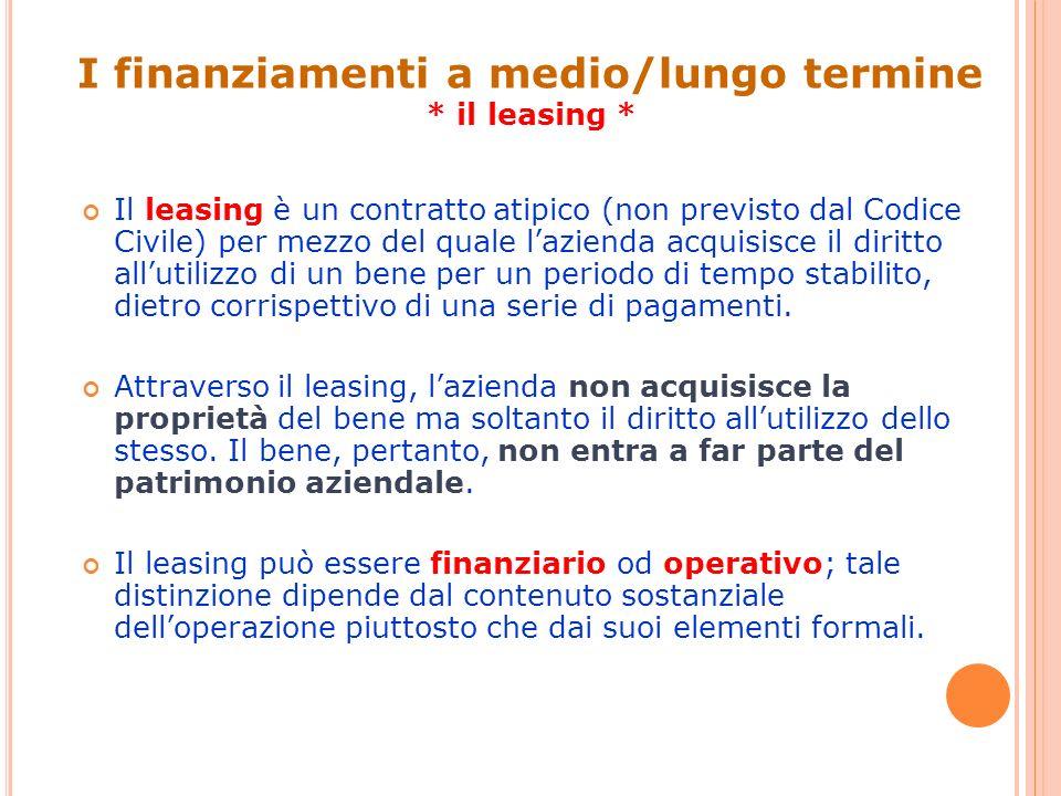 Il leasing è un contratto atipico (non previsto dal Codice Civile) per mezzo del quale lazienda acquisisce il diritto allutilizzo di un bene per un pe