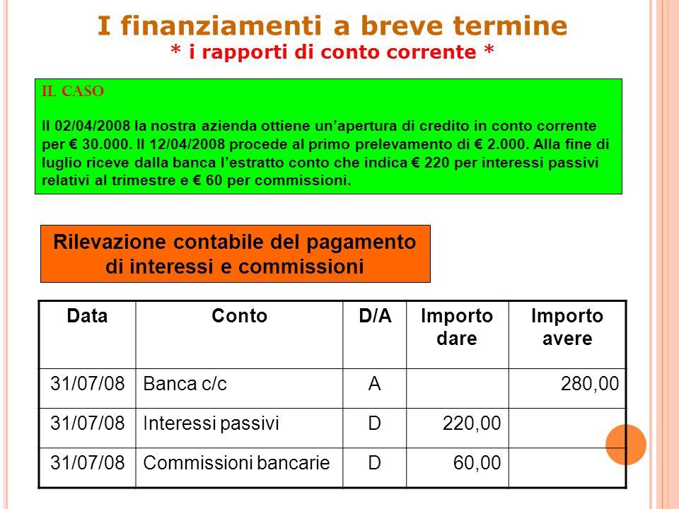 18 Rilevazione contabile della prima rata DataVarContoD/AImporto dare Importo avere 31/07/08VFPMutui passiviD6.000 31/07/08VENInteressi passivi su mutui D4.200 31/07/08VFNBanca c/cA10.200 I finanziamenti a medio/lungo termine * i mutui passivi *