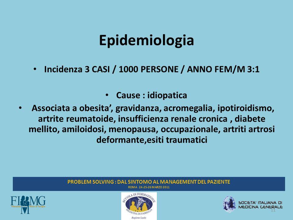 11 PROBLEM SOLVING : DAL SINTOMO AL MANAGEMENT DEL PAZIENTE ROMA 24-25-26 MARZO 2011 Epidemiologia Incidenza 3 CASI / 1000 PERSONE / ANNO FEM/M 3:1 Cause : idiopatica Associata a obesita, gravidanza, acromegalia, ipotiroidismo, artrite reumatoide, insufficienza renale cronica, diabete mellito, amiloidosi, menopausa, occupazionale, artriti artrosi deformante,esiti traumatici