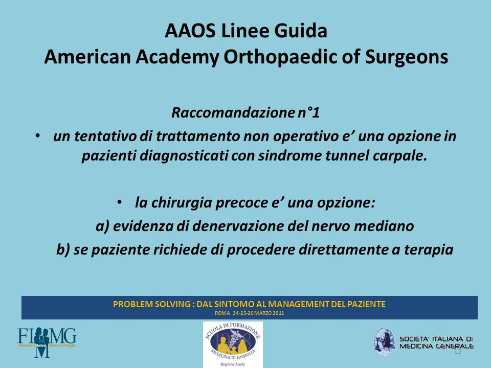 13 PROBLEM SOLVING : DAL SINTOMO AL MANAGEMENT DEL PAZIENTE ROMA 24-25-26 MARZO 2011 AAOS Linee Guida American Academy Orthopaedic of Surgeons Raccoma
