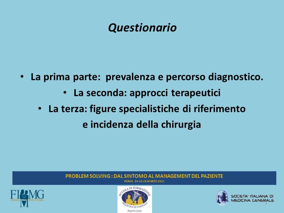 4 PROBLEM SOLVING : DAL SINTOMO AL MANAGEMENT DEL PAZIENTE ROMA 24-25-26 MARZO 2011 Prevalenza percepita STC Numero pazienti con STC ultimo anno414 Totale assistiti57.748 Prevalenza (per mille)7,17
