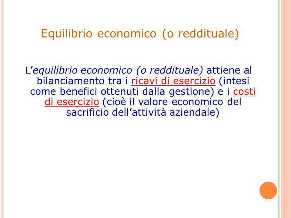 Lequilibrio economico (o reddituale) attiene al bilanciamento tra i ricavi di esercizio (intesi come benefici ottenuti dalla gestione) e i costi di es