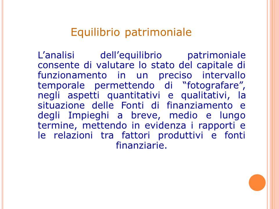 Lanalisi dellequilibrio patrimoniale consente di valutare lo stato del capitale di funzionamento in un preciso intervallo temporale permettendo di fot