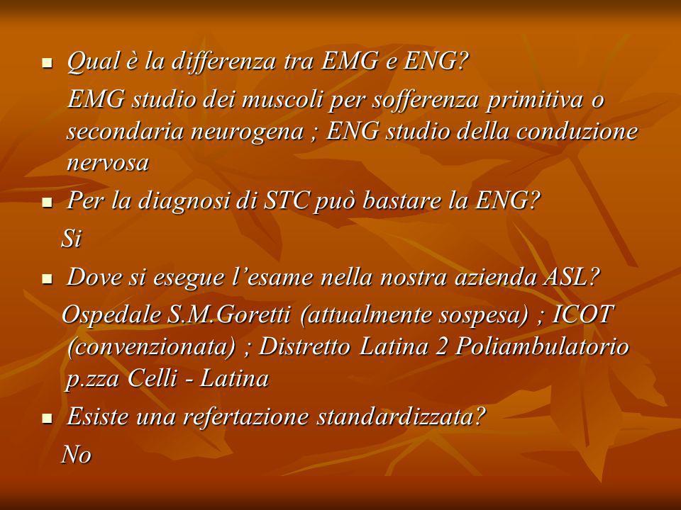 Qual è la differenza tra EMG e ENG? Qual è la differenza tra EMG e ENG? EMG studio dei muscoli per sofferenza primitiva o secondaria neurogena ; ENG s