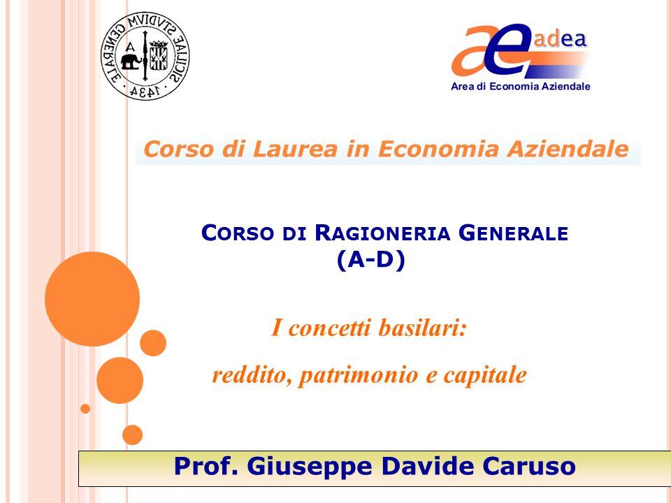 I concetti basilari: reddito, patrimonio e capitale C ORSO DI R AGIONERIA G ENERALE (A-D) Prof.