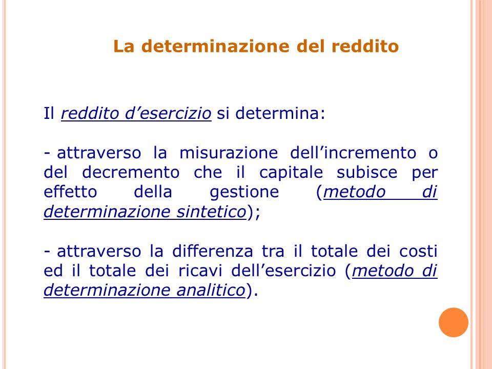Il reddito desercizio si determina: - attraverso la misurazione dellincremento o del decremento che il capitale subisce per effetto della gestione (metodo di determinazione sintetico); - attraverso la differenza tra il totale dei costi ed il totale dei ricavi dellesercizio (metodo di determinazione analitico).