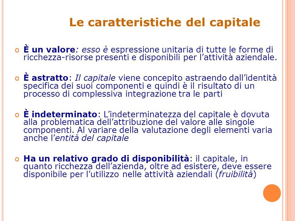 Le caratteristiche del capitale È un valore: esso è espressione unitaria di tutte le forme di ricchezza-risorse presenti e disponibili per lattività aziendale.