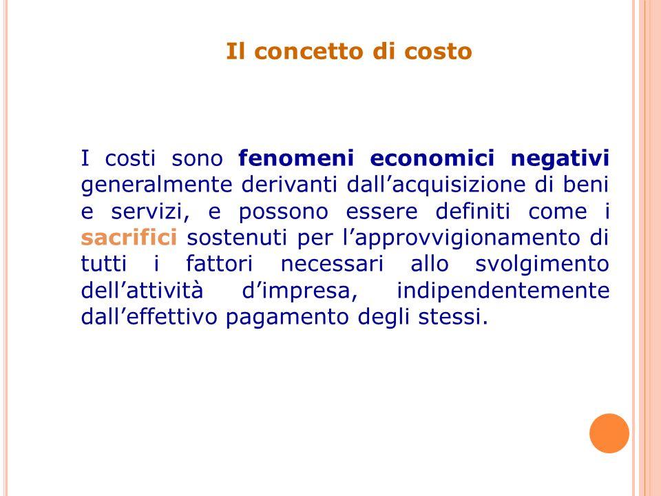 Il concetto di costo I costi sono fenomeni economici negativi generalmente derivanti dallacquisizione di beni e servizi, e possono essere definiti come i sacrifici sostenuti per lapprovvigionamento di tutti i fattori necessari allo svolgimento dellattività dimpresa, indipendentemente dalleffettivo pagamento degli stessi.