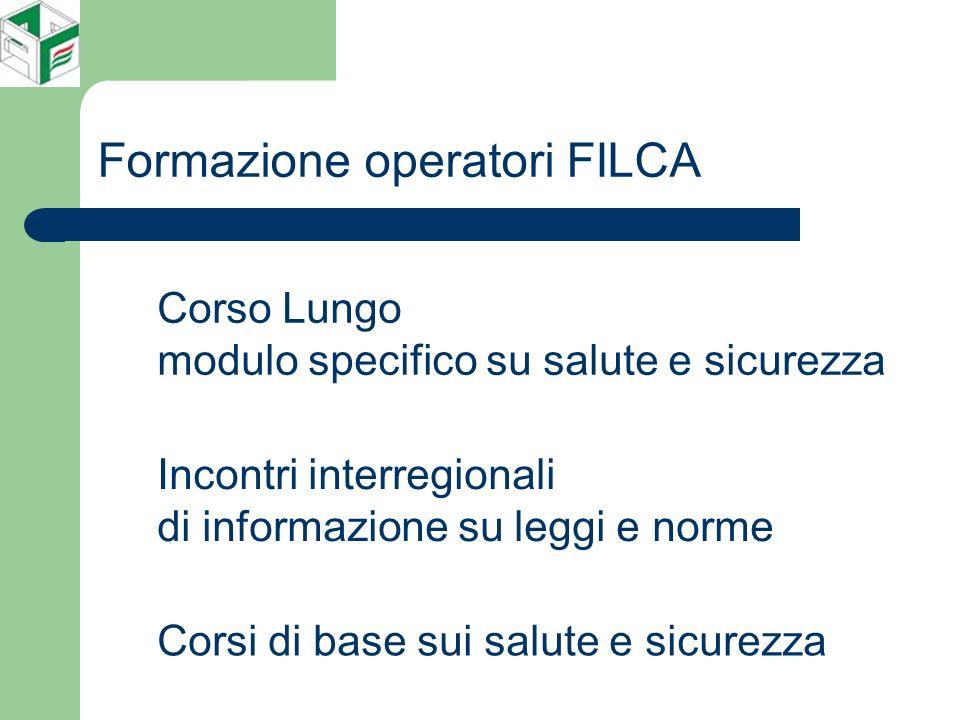 Formazione operatori FILCA Corso Lungo modulo specifico su salute e sicurezza Incontri interregionali di informazione su leggi e norme Corsi di base sui salute e sicurezza