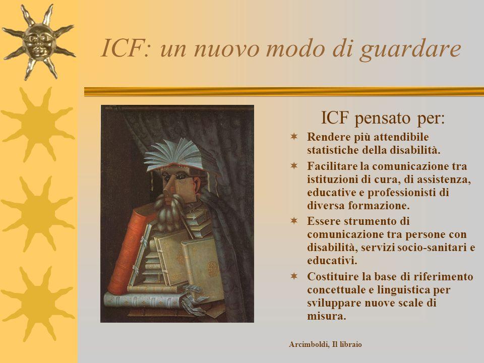 ICF: un nuovo modo di guardare ICF pensato per: Rendere più attendibile statistiche della disabilità. Facilitare la comunicazione tra istituzioni di c