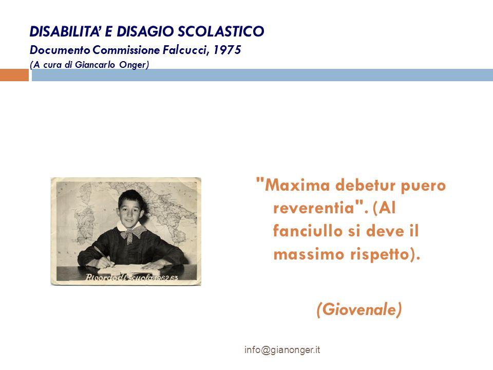 DISABILITA E DISAGIO SCOLASTICO Documento Commissione Falcucci, 1975 (A cura di Giancarlo Onger)