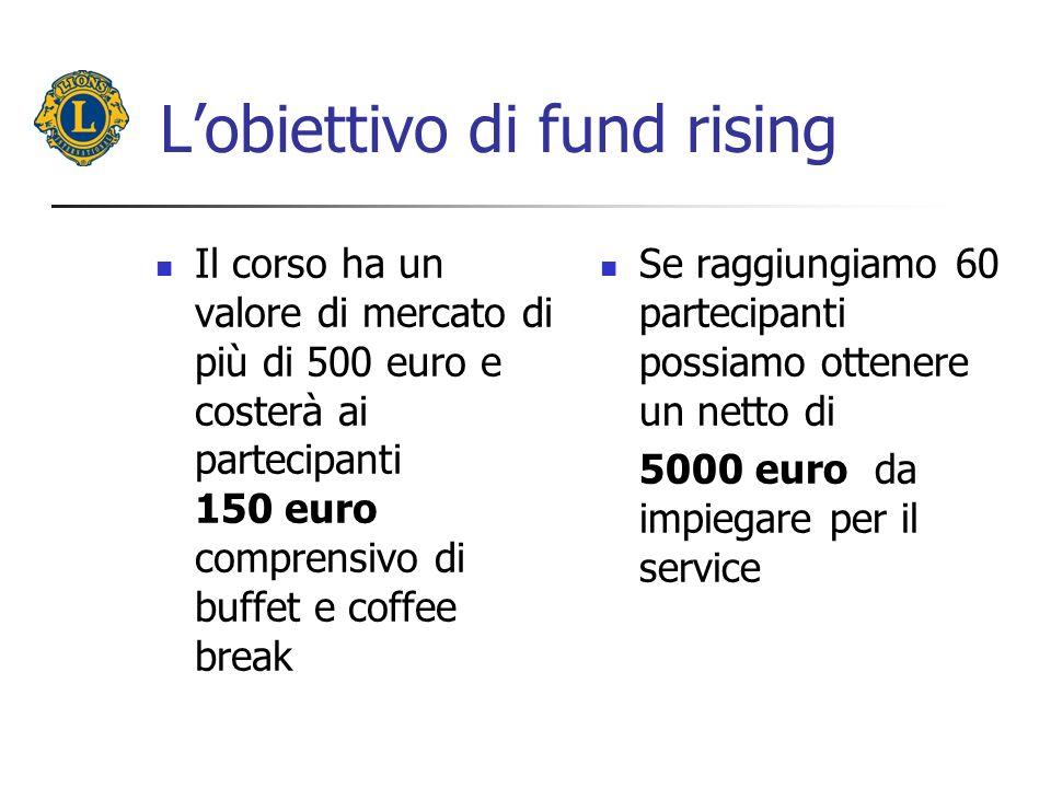 Lobiettivo di fund rising Il corso ha un valore di mercato di più di 500 euro e costerà ai partecipanti 150 euro comprensivo di buffet e coffee break Se raggiungiamo 60 partecipanti possiamo ottenere un netto di 5000 euro da impiegare per il service