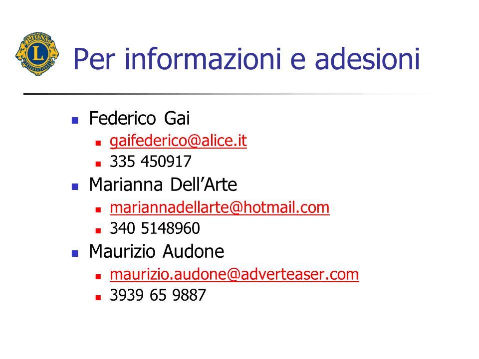 Per informazioni e adesioni Federico Gai gaifederico@alice.it 335 450917 Marianna DellArte mariannadellarte@hotmail.com 340 5148960 Maurizio Audone maurizio.audone@adverteaser.com 3939 65 9887