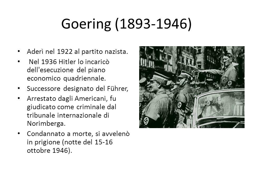 Himmler (1900-1945) Designato da Hitler, nel 1929, capo delle SS. Divenne nel 1944 capo della polizia politica (Gestapo), Formò con Hess e Göring il t