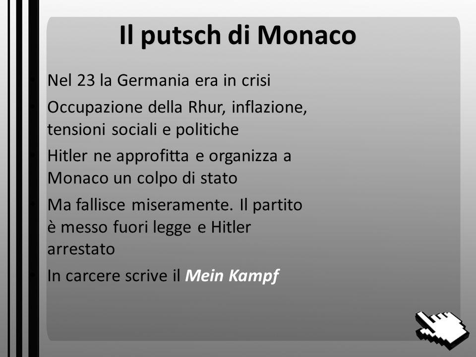 Il putsch di Monaco Nel 23 la Germania era in crisi Occupazione della Rhur, inflazione, tensioni sociali e politiche Hitler ne approfitta e organizza a Monaco un colpo di stato Ma fallisce miseramente.