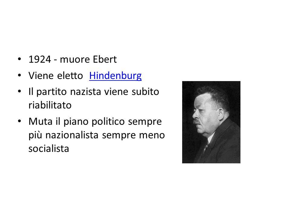 1924 - muore Ebert Viene eletto HindenburgHindenburg Il partito nazista viene subito riabilitato Muta il piano politico sempre più nazionalista sempre meno socialista Ebert