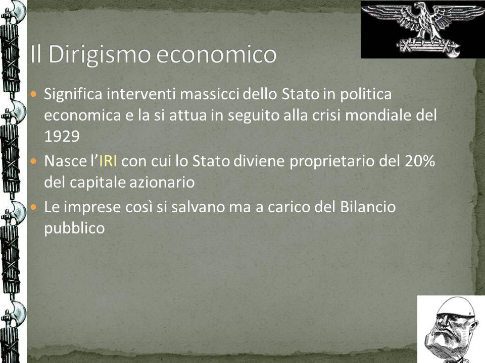 Significa interventi massicci dello Stato in politica economica e la si attua in seguito alla crisi mondiale del 1929 Nasce lIRI con cui lo Stato divi