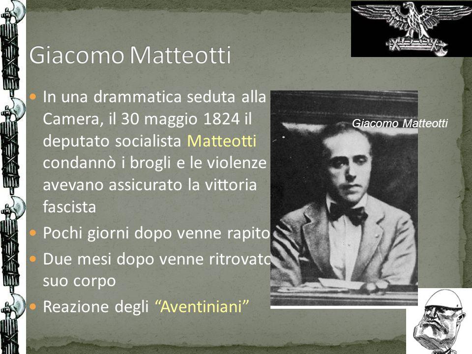 In una drammatica seduta alla Camera, il 30 maggio 1824 il deputato socialista Matteotti condannò i brogli e le violenze che avevano assicurato la vit