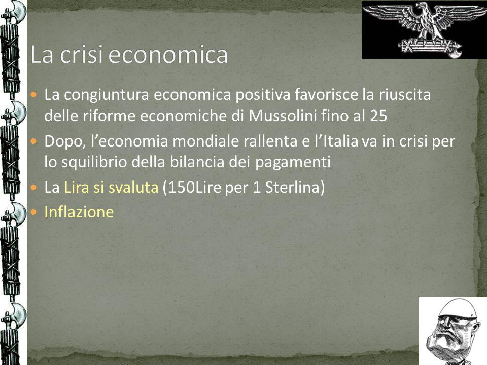 La congiuntura economica positiva favorisce la riuscita delle riforme economiche di Mussolini fino al 25 Dopo, leconomia mondiale rallenta e lItalia v