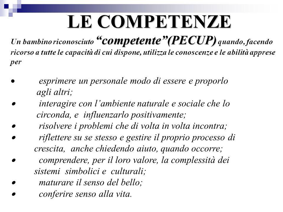 LE COMPETENZE competente(PECUP) LE COMPETENZE Un bambino riconosciuto competente(PECUP) quando, facendo ricorso a tutte le capacità di cui dispone, ut