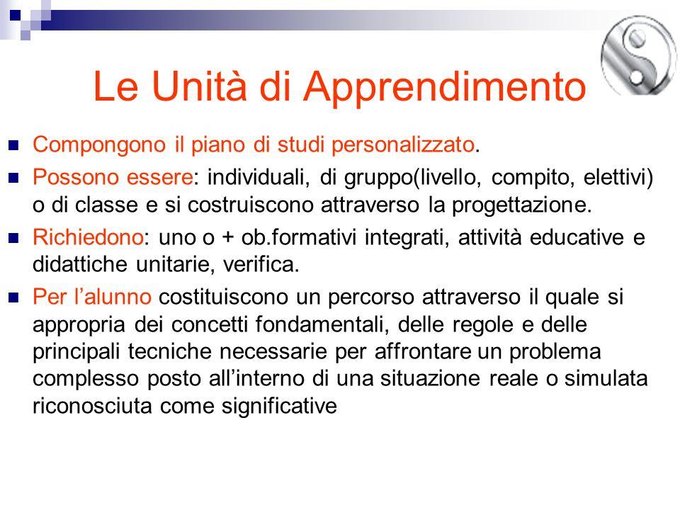 Le Unità di Apprendimento Compongono il piano di studi personalizzato. Possono essere: individuali, di gruppo(livello, compito, elettivi) o di classe