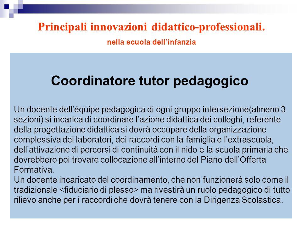 Coordinatore tutor pedagogico Un docente delléquipe pedagogica di ogni gruppo intersezione(almeno 3 sezioni) si incarica di coordinare lazione didatti
