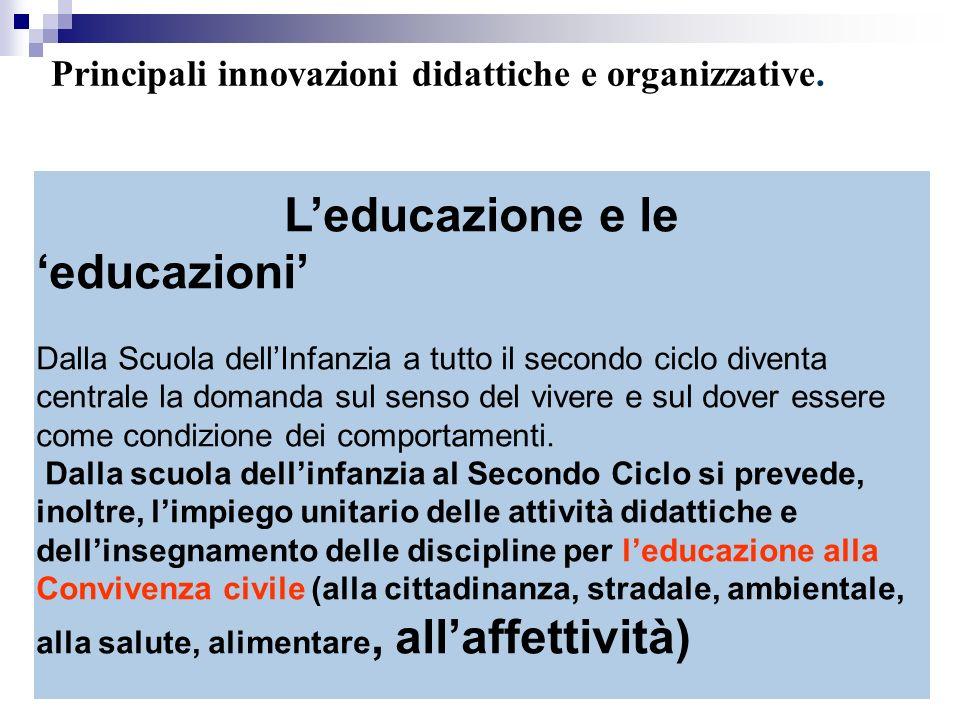 Leducazione e le educazioni Dalla Scuola dellInfanzia a tutto il secondo ciclo diventa centrale la domanda sul senso del vivere e sul dover essere come condizione dei comportamenti.