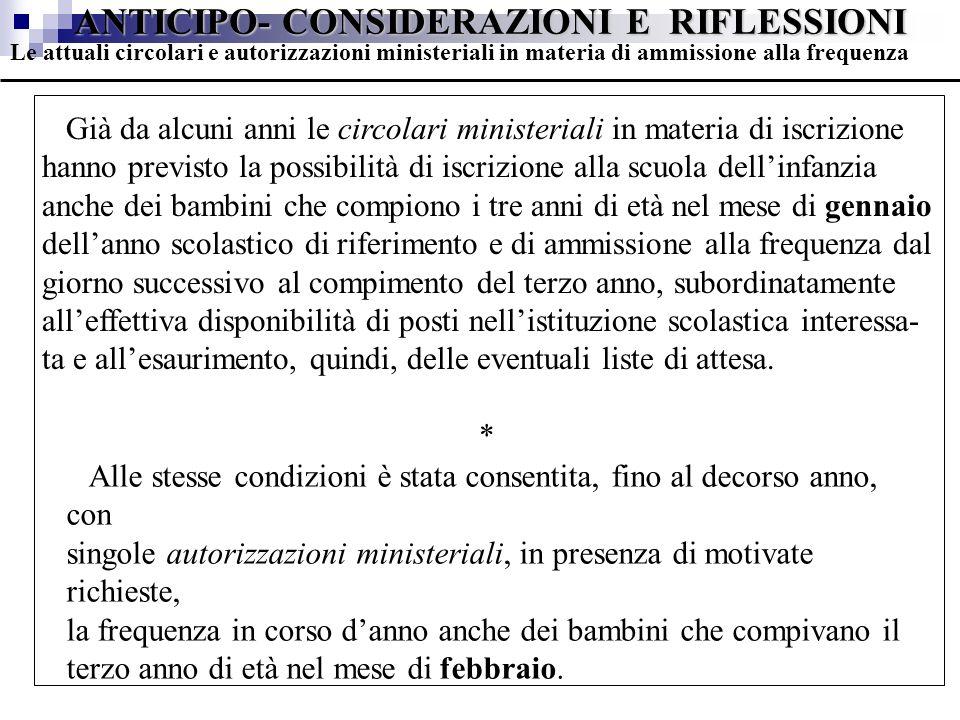 ANTICIPO- CONSIDERAZIONI E RIFLESSIONI Già da alcuni anni le circolari ministeriali in materia di iscrizione hanno previsto la possibilità di iscrizio