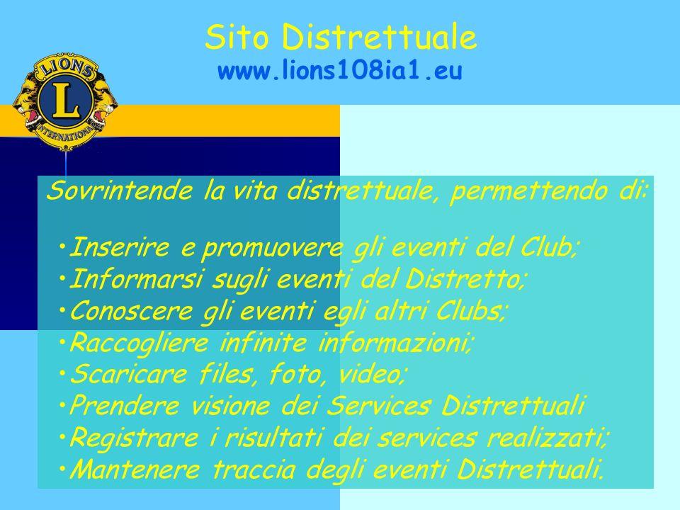 Sovrintende la vita distrettuale, permettendo di: Inserire e promuovere gli eventi del Club; Informarsi sugli eventi del Distretto; Conoscere gli even