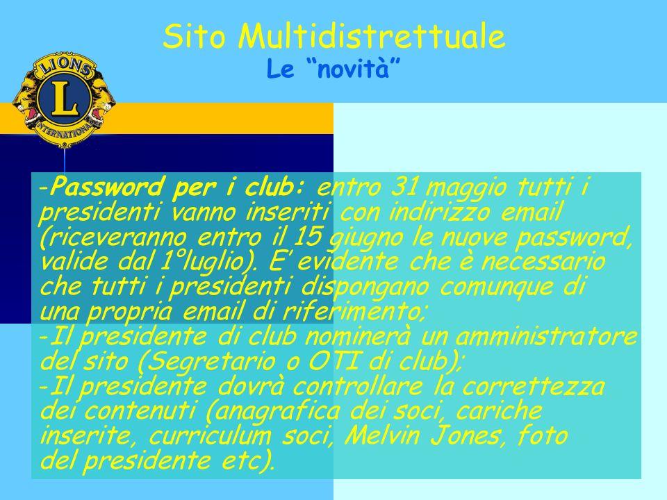 -Password per i club: entro 31 maggio tutti i presidenti vanno inseriti con indirizzo email (riceveranno entro il 15 giugno le nuove password, valide dal 1°luglio).