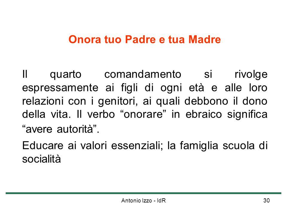 Antonio Izzo - IdR30 Onora tuo Padre e tua Madre Il quarto comandamento si rivolge espressamente ai figli di ogni età e alle loro relazioni con i geni