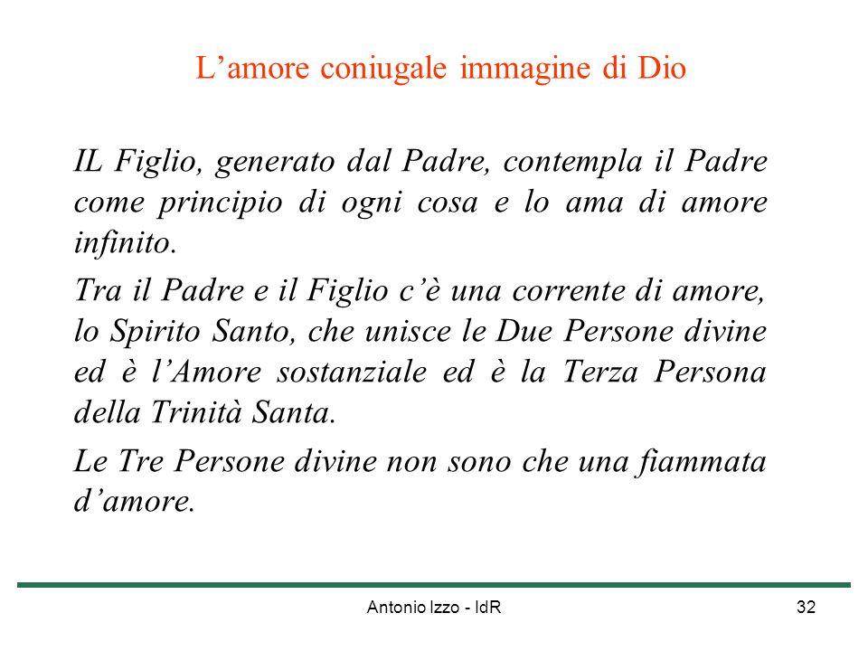 Antonio Izzo - IdR32 Lamore coniugale immagine di Dio IL Figlio, generato dal Padre, contempla il Padre come principio di ogni cosa e lo ama di amore