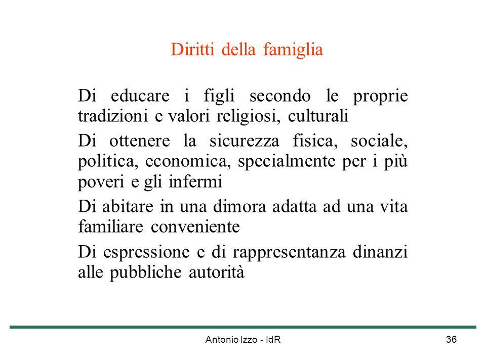 Antonio Izzo - IdR36 Diritti della famiglia Di educare i figli secondo le proprie tradizioni e valori religiosi, culturali Di ottenere la sicurezza fi