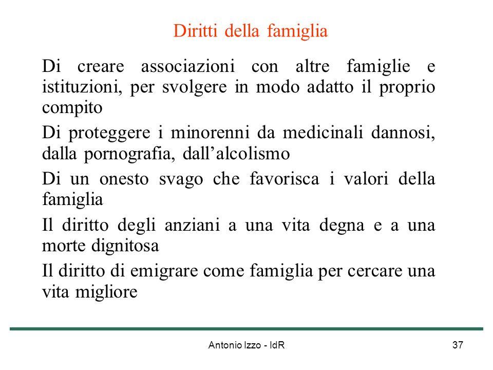 Antonio Izzo - IdR37 Diritti della famiglia Di creare associazioni con altre famiglie e istituzioni, per svolgere in modo adatto il proprio compito Di
