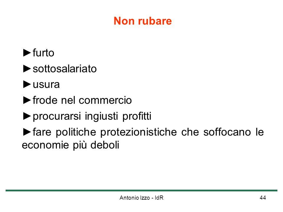 Antonio Izzo - IdR44 Non rubare furto sottosalariato usura frode nel commercio procurarsi ingiusti profitti fare politiche protezionistiche che soffoc