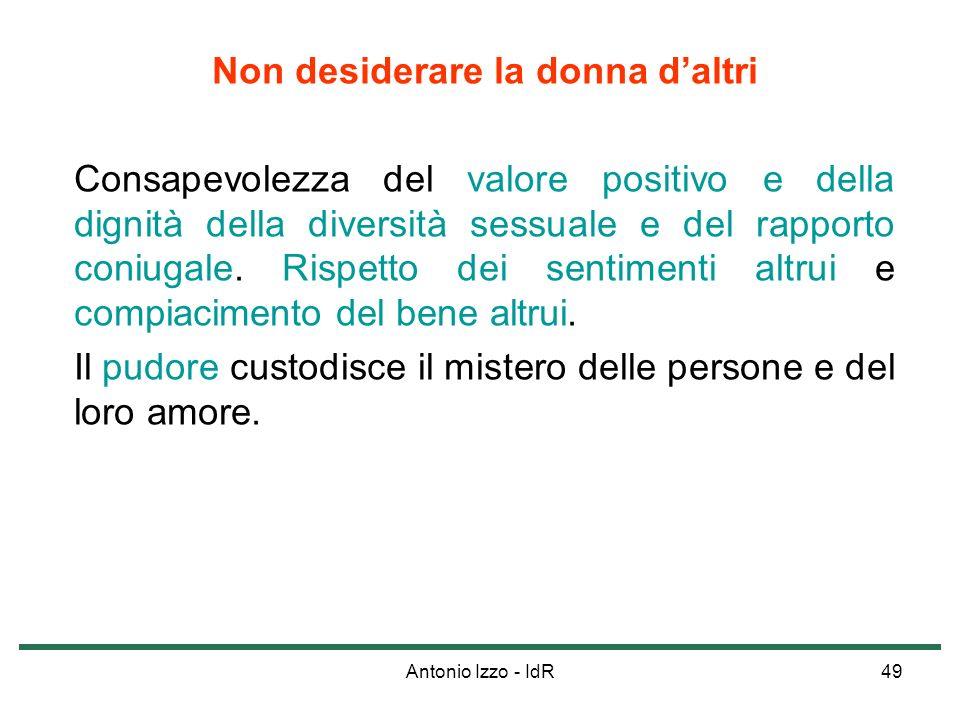 Antonio Izzo - IdR49 Non desiderare la donna daltri Consapevolezza del valore positivo e della dignità della diversità sessuale e del rapporto coniuga