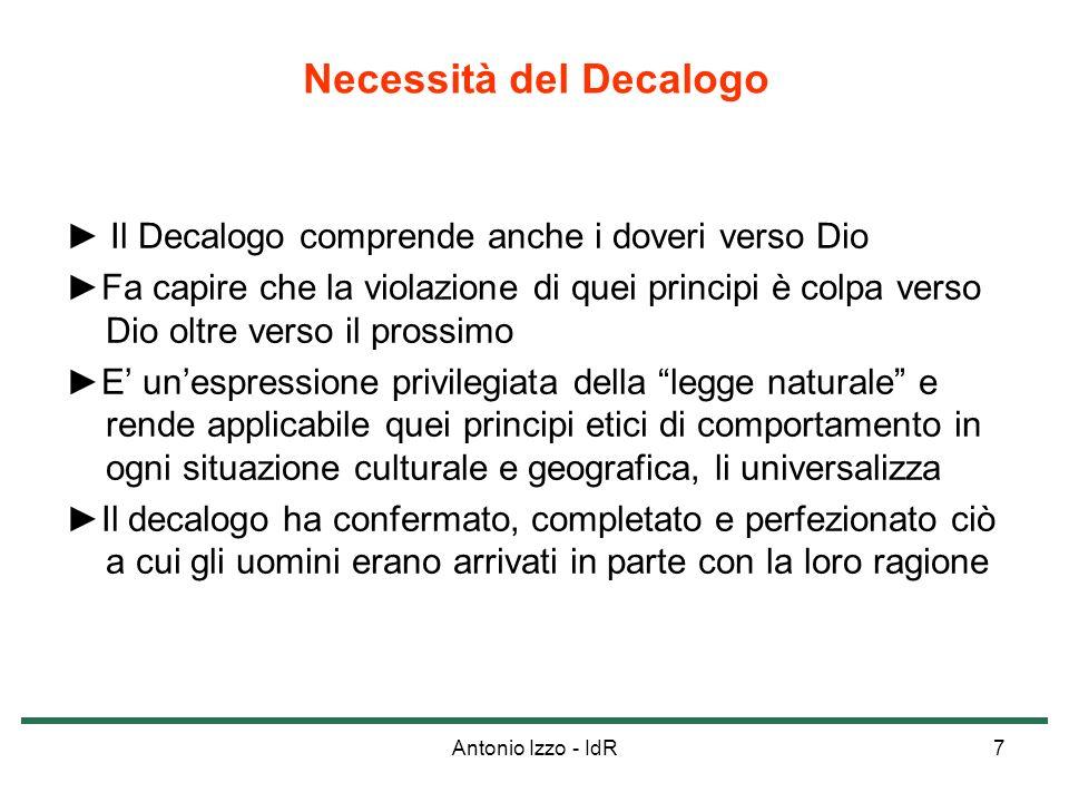 Antonio Izzo - IdR7 Il Decalogo comprende anche i doveri verso Dio Fa capire che la violazione di quei principi è colpa verso Dio oltre verso il pross