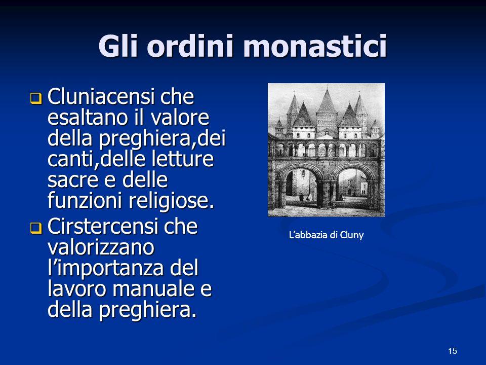 15 Gli ordini monastici Cluniacensi che esaltano il valore della preghiera,dei canti,delle letture sacre e delle funzioni religiose. Cluniacensi che e