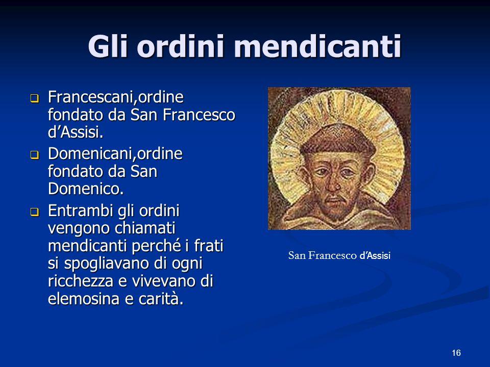 16 Gli ordini mendicanti Francescani,ordine fondato da San Francesco dAssisi. Francescani,ordine fondato da San Francesco dAssisi. Domenicani,ordine f