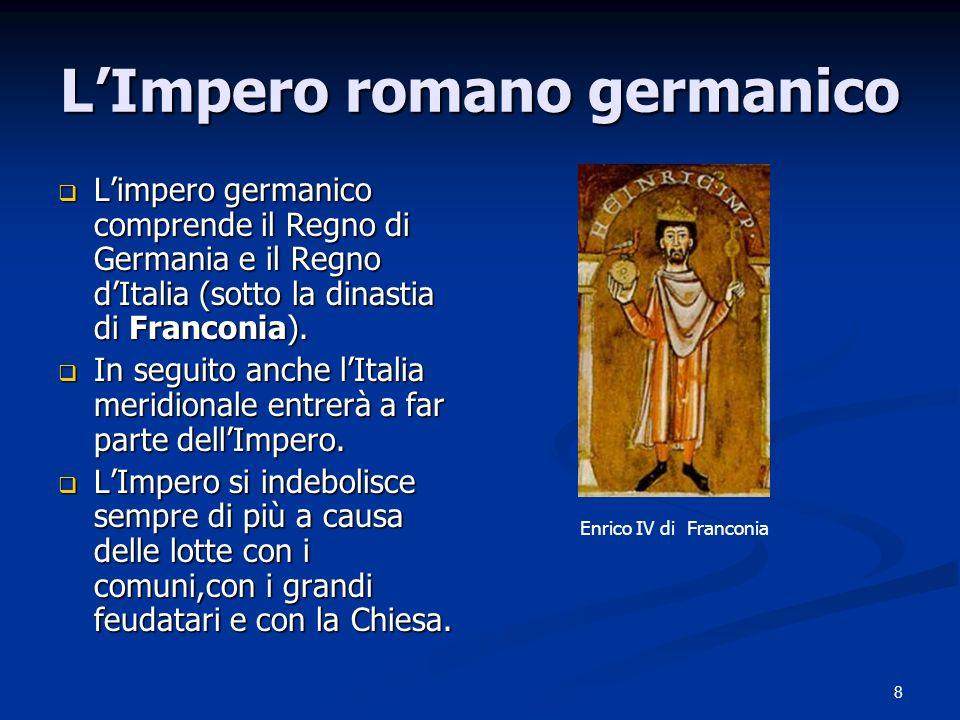 8 LImpero romano germanico Limpero germanico comprende il Regno di Germania e il Regno dItalia (sotto la dinastia di Franconia).