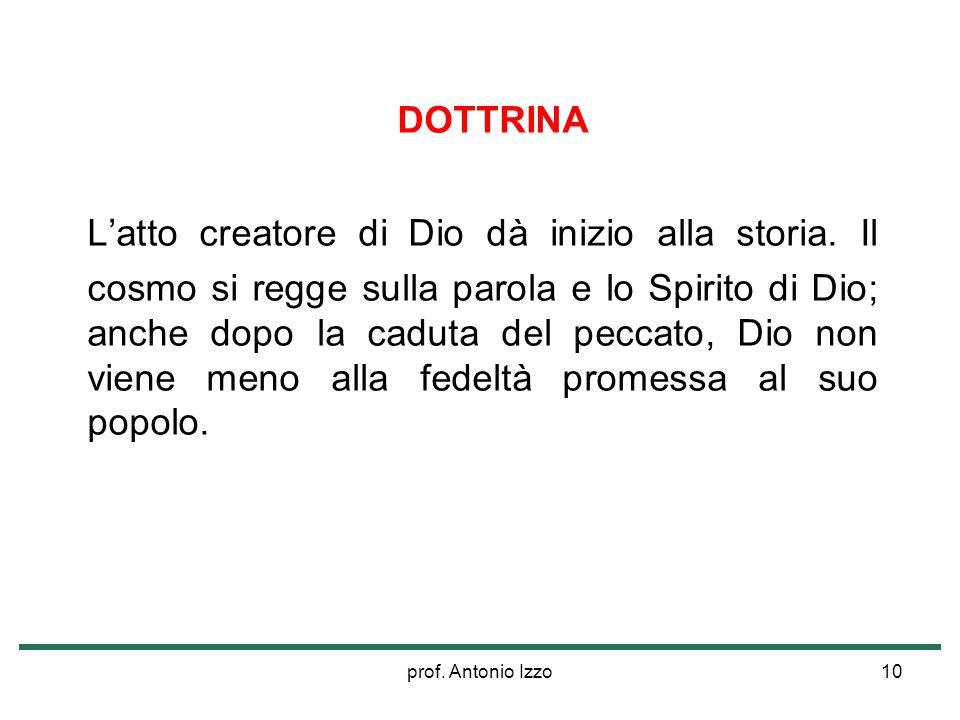 prof. Antonio Izzo10 DOTTRINA Latto creatore di Dio dà inizio alla storia. Il cosmo si regge sulla parola e lo Spirito di Dio; anche dopo la caduta de